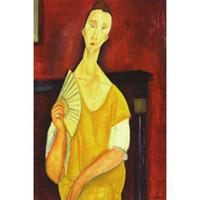ingrosso pitture a olio di qualità donne-Dipinti ad olio su regalo d'arte di Amedeo Modigliani Donna con ventaglio Dipinto a mano ritratto arte astratta Alta qualità