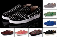 Wholesale Bottom Boat - Suede Roller Boat Flat Red Bottom Sneakers Luxury Casual Shoes Brand New For Men Women Party Designer Lovers Top Quality