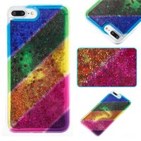 Wholesale Iphone 4s Case Rainbow - For iPhone 4S 5C 5S 5SE 6S 7 8 Plus X iPod Touch 5 6 TPU Soft Case With Rope Hole Rainbow Liquid Stardust Glitter Quicksand Plastic Cover