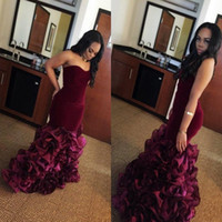 Wholesale Eveing Dress Black - African Burgundy Mermaid Prom Dresses Long Rose Floral Flowers Tiered Sweetheart Plus Size Eveing Gowns Rufflus Foraml Party Dress Vestios