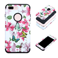 Wholesale Armor Painting - Armor Shockproof Hybrid PC TPU Flower Painted Cover Flull Protection Case For Iphone 7 6s 6 plus i8 Opp Bag