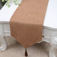 Wholesale Table Cloths China - 120 inch Long Pure Cotton Linen Table Runner High End Modern Simple Dining Table Cloth China style Table Mats Protection Pads 300x33 cm