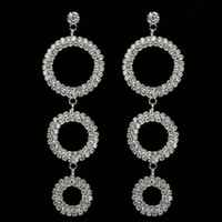 Wholesale Dangling Hoop - Fashion Silver Plated Large Rhinestone Crystal Long Hanging Earrings Women Big Circle Hoop Pending Earring Jewelry Wedding Gifts