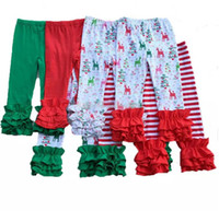 Wholesale Tights Color Stripes - Thanksgiving Christmas girls stripe ruffle pants Baby Warmer Leggings Tights kids Trousers cotton Pants 28 colors B11
