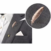 Wholesale Feather Lapel Pins - 2017 Gold Feather Suit Women Broaches Version Leaves Hijab Pins Wedding Brooch Men Brooches Pins Flower Lapel Pins For Women