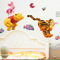 Wholesale Winnie Pooh Tree - Wholesale- cartoon Winnie Pooh tree wall stickers for kids rooms boys girl home decor wall decals nursery decoration wall poster gift