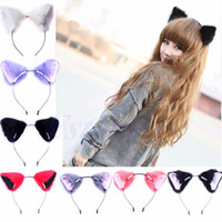 Wholesale Fur Fox - 2017 Hair Accessories Girl Cute Cat Fox Ear Long Fur Hair Headband Anime Cosplay Party Costume