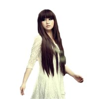 Wholesale Black Wig Straight Long Bangs - WoodFestival long black wigs with bangs brown Straight Wigs For Women Hair Wigs neat bang synthetic fiber wig cosplay