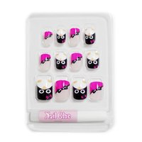 Wholesale New Fake Glue Nails - Wholesale-New 12 PCS Cute Penguin Rose Red Full Cover Short Fake False Acrylic Sticker Nails Tips With Free Glue Gel [N259]