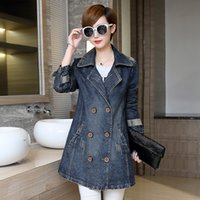 Wholesale Wide Fat Woman - Wholesale- 2016 Autumn New Female Long-sleeved Denim Jacket and Long Sections Slim Casual Windbreaker Jacket Fat mm Large Size Women BL130