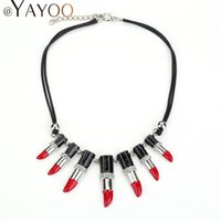 Wholesale Wholesale Lipstick Pendant Necklaces - Wholesale-Sexy Lipstick African Beads Pendant Necklace Jewelry For Women Rope Chain Silver Plated Statement Wedding Dress Accessories