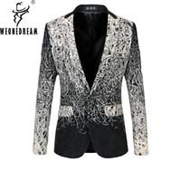 Wholesale Autumn Floral Blazer - Wholesale- 2017 New Arrival Men Casual Blazers Designer Brand Autumn Fashion European Business Dress Floral Suit Jacket Plus Size M-6XL