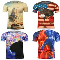 Wholesale Leopard Print T Shirts Women - America Flag Eagle Eagle Leopard City 3D print t shirts for Women Men Summer 3D t shirt tee short T-Shirt Tops