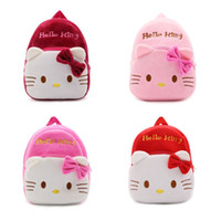 Wholesale Cartoon Baby Girls Bag - New children plush backpack cartoon bags kids baby school bags cute Hello Kitty schoolbag for kindergarten girls gift