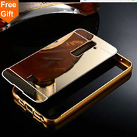 Wholesale metal case lg optimus - Luxury Gold Plating Armor Aluminum Frame + Mirror Acrylic Case For LG Optimus G2 D802 D801 Back Cover phone bags For LG G2