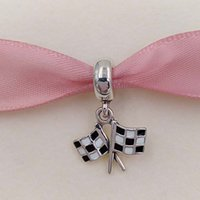 Wholesale Cross Pendants Beads - Genuine S925 Sterling Silver European Beads Chequered Flags Pendant Charm Fit Brand ALE Style Bracelets & Necklace 791508ENMX