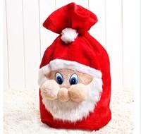 büyük hediye poşetleri torbalar toptan satış-Büyük Işlemeli Kişiselleştirilmiş Noel Santa Çuval Çanta Hediye noel İpli Kılıfı big Bag Noel Baba giyinmek gunny çanta sahne