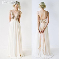 Wholesale Bridesmaid Dress Bowtie - A line Sequin Top Chiffon Skirt Bridesmaid Dress Bare Back with BowTie Ankle Length Wedding Guest Dress