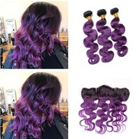 Wholesale two color frontal closure - New Arrive Two Tone 1B Purple Ombre Body Wave Virgin Human Hair Weave 3 Bundles With 13*4 Full Lace Frontal Closure With Bundles