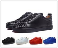 perçin çivileri toptan satış-Ücretsiz kargo menwomem high-end özel siyah perçinler rahat ayakkabılar açık düşük üst hakiki deri kırmızı alt sneaker boyutu: 36-46