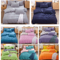 edredão azul laranja venda por atacado-Atacado- Moda 4Pcs cor sólida Único / Twin / Duplo / Completo / Queen Size Bed Quilt / Capa de edredão Set Azul Cinza Amarelo Rosa Verde Laranja Roxo