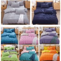 Wholesale Orange Queen Size Bedding Sets - Wholesale- Fashion 4Pcs Solid Color Single Twin Double Full Queen Size Bed Quilt Duvet Cover Set Blue Gray Yellow Pink Green Orange Purple