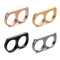 титановые бедра оптовых-Европа и США мода модели двойной палец двойное кольцо из нержавеющей стали кольцо хип-хоп хип-хоп кольцо титановая сталь персонализированные