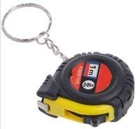 Wholesale Measuring Tape 1m - Free shipping 1m Mini Portable Steel Tape Measure Keychain Holster Measuring Tape Color random hair LLFA