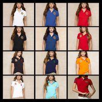 Wholesale Womens Polka Dots - 2017 New Womens Brand Clothing Short Sleeve Shirt Lapel Business Women Polo Shirt High Quality Crocodile Embroidery Cotton Woman Polo Shirt