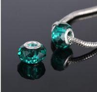Wholesale European Green Lampwork - 50 Pcs Mixed 925 Sterling Silver Green Crystal Handmade Lampwork Murano Glass Charm Beads For Pandora European Jewelry Bracelet