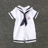 Wholesale Wholesale Navy Uniform - Baby Clothes White Navy Sailor Uniforms Summer Baby Rompers Short Sleeve One-pieces Jumpsuit Baby Boy Girl Clothing 2108048