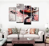 More Panel spray king - 4pcs set Unframed King of Fighters Ryu Anime Poster Print On Canvas Wall Art Picture For Home and Living Room Decor