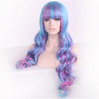 Wholesale Harajuku Wig Purple - Lolita Harajuku Cosplay Long Body Wave Hair Wigs Full Bang Heat Resistant Wigs Ombre Purple with Hair Net