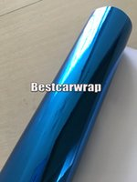 karosserie leuchtet großhandel-Hellblaues Chrom-Spiegel-Vinyl für Auto-Verpackung Dehnbares Chrom mit Luftblase frei Einfaches stertch für Autoanreden Größe: 1.52x20m / Rolle 5x66ft