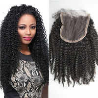 Wholesale african american human hair cheap online - Brazilian Lace Closure with Baby Hair Kinky Curly Human Hair Free Part Cheap Lace Closure for African American FDSHINE HAIR
