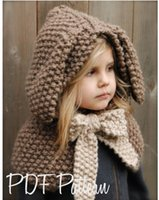 Wholesale Children S Winter Capes - Children 's hat rabbit shawl autumn and winter scarf pure handmade wool hat ear warmer cap cape baby hat 113102