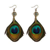 Wholesale Thailand Ethnic Silver - Ethnic Long Peacock Feather Drop Earrings Fashion Vintage Bohemian Thailand Dangle Earrings For Women Jewelry Holiday Gift