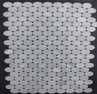 Wholesale Wholesale Oval Tiles - Oyester White Oval Geometric Wall Mosaic Backsplash Tiles for Kithchen or Bathroom