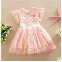 Wholesale Petals Dhl - Princess Girl Dress 2017 Summer Children Lace Flower Vestidos Para Ninas Kids Petal Sleeve Party Dresses For Girls DHL Free Shipping