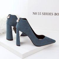 Wholesale Thick Heeled Wedding Shoes - New Autumn Women Elegant Pumps Thick Heels Fashion Pumps Sexy Women Diamond OL Office Shoes G9966-2