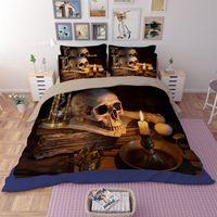 Wholesale full human skeleton - Wholesale- new arrival 3D human skeleton black skull death's-head design twin queen bed sheet set bedclothes duvet cover set bedding set