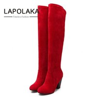 Wholesale boots fashion platform vintage - Wholesale- 2016 Over The Knee Long Boots Vintage Chunky Heels Round Toe Less Platform Shoes Spring Winter Boots Woman Fashion Women's Shoes