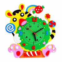 Wholesale Wood Puzzle Craft - Wholesale- Building Kits Handmade DIY 3D Animal Learning Clock Kids Crafts Educational Toy