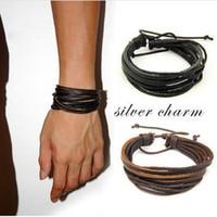 Wholesale Tribal Bracelets For Women - 2pcs lot Hot Unisex Charm Surfer Tribal Wrap Multilayer Genuine Leather Bracelet For Men Women Jewelry