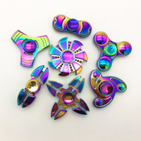 Wholesale Cool Style Child - Top 8 Style EDC Toys Metal Rainbow Hand Spinner Colorful Cool Stress Wheel Cube Toys Figit Spiner Adults children Gifts