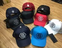 Wholesale Bone Skulls - kpop Luxury brand BAG 2018 Logo Blue Skull and Slip Hats 6 panel skateboard Black snapback dad hats casual visor gorras bone casquette