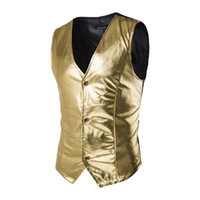 Wholesale Clothes For Nightclub - Wholesale- Fashion Nightclub Stage Costumes Men Gold Silver Vest Men Slim Fit Sleeveless Waistcoat Vest Wedding Host Clothing For Men