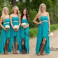 nedime giysileri boncuklu kayış toptan satış-Ülke Gelinlik Modelleri 2018 Ucuz Teal Turkuaz Şifon Sevgiliye Yüksek Düşük Boncuklu Kemer Parti Düğün Konuk Elbise Hizmetçi Onur Törenlerinde Ile