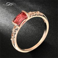 Wholesale Vintage Silver Rose Ring - DFR368 Vintage Ruby Rings 18K Rose Gold Plated Silver Tone Fashion Brand Retro Crystal Ring Imitation Gemstone Jewelry For Women