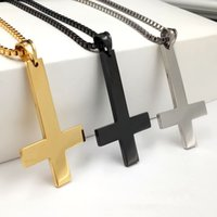 Masculino Black St Peter's Inverted Cross Pingente Colares para homens Stainless Steel Choker Crux de Sanctus Petrus Jewelry Gifts Accessories 2017